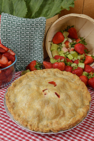 Strawberry-Rhubarb Pie on a country table with strawberries and rhubard and a red and white checkered table cloth Reklamní fotografie