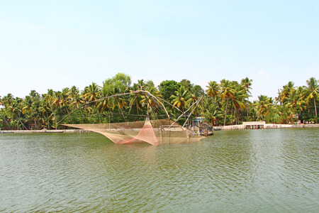 kerala backwaters: The Chinese fishing nets. Kerala Backwaters