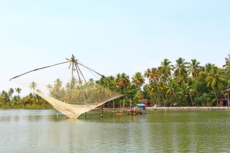 The Chinese fishing nets. Kerala Backwaters