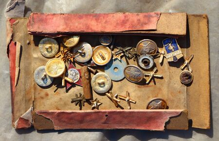 the ussr: Icons and buttons of the USSR. Flea market