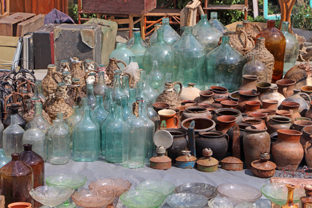 antiquated: Glass vessels. Flea market