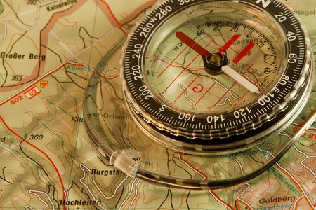 recreational area: Orienteering: map and compass Stock Photo