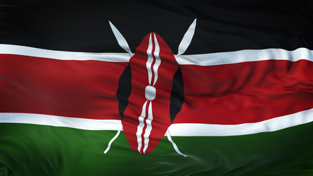 KENYA Realistic Waving Flag Background Zdjęcie Seryjne