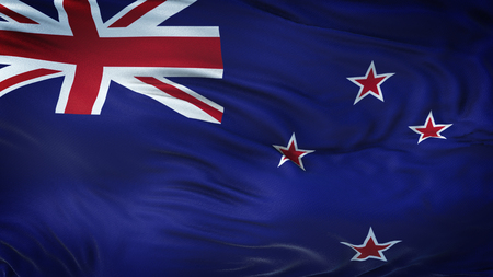 NEW ZELAND Realistic Waving Flag Background Stok Fotoğraf