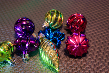 glass ornaments for a christmas tree unpacked on garage floor Stock Photo