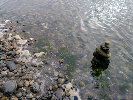 shore with stones stacked