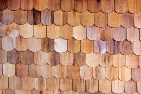 red wooden scale siding texture Stock Photo