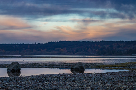 two rocks on hood canal shore