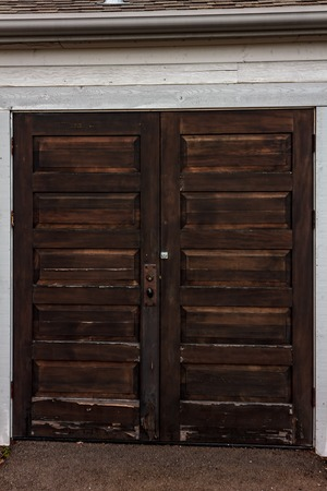 dark wooden double door Stock Photo