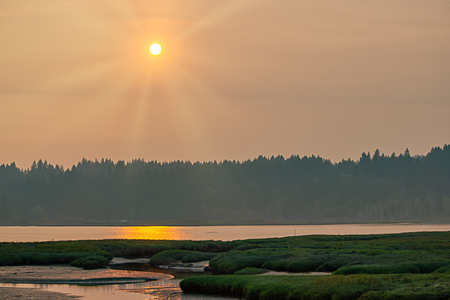 red golden sun shines down on hood canal in late august