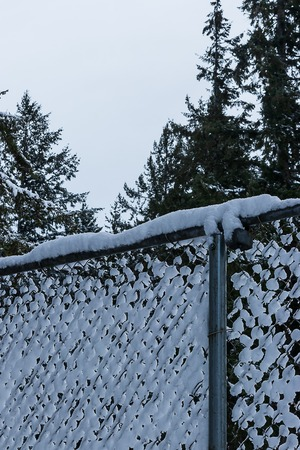 chain link fence covered in fluffy white snow Zdjęcie Seryjne