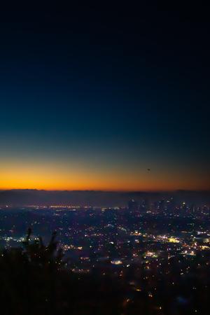 dawn view of los angeles city lights Stok Fotoğraf