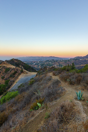 los angeles hills hiking trail view of valley