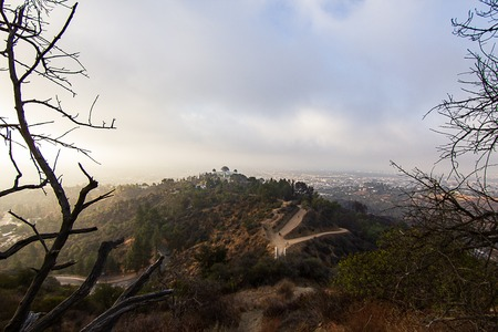 hillside firedamage overlooking Griffith observatory 免版税图像