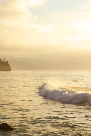 breaking wave with foam on yellow ocean expanse
