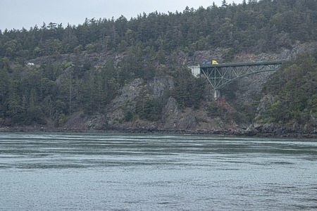 distant forested seaside cliffs with a bridge crossing the gap