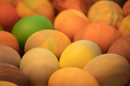 many multicolored boiled eggs with different patterns decorated and dyed for easter Reklamní fotografie