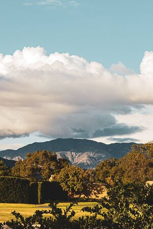 hillside garden with trees, lawn, and trimmed boxwood with view of san gabriel mountains and cloudscape Stockfoto - 128524237