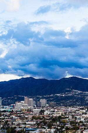 ariel view of downtown glendale with san gabriel mountains