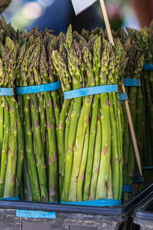 large bundles of freshly harvested asperagus from local farms in a stand in a market Imagens
