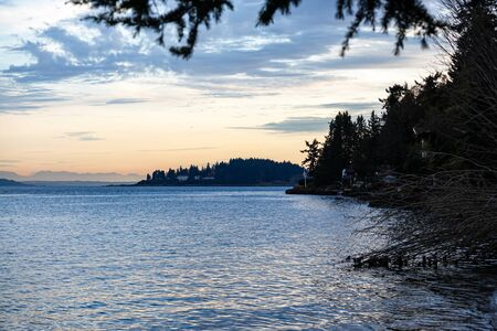 shoreline on bainbridge island with glow from the setting sun