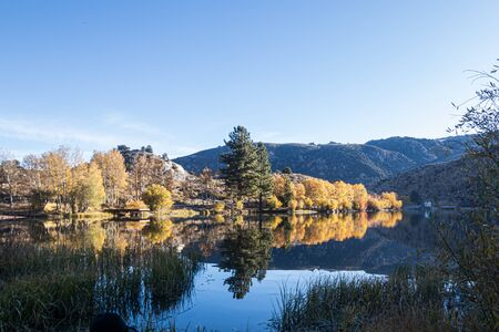 shoreline of crystal blue lake mirrorning autumn leaves in early morning