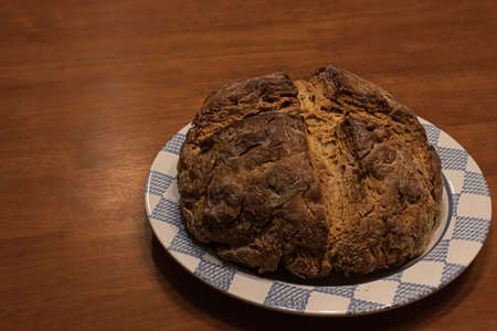 round bread loaf fresh out of the oven