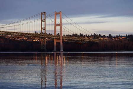 evening light on tacoma narrows bridge over water Stock fotó