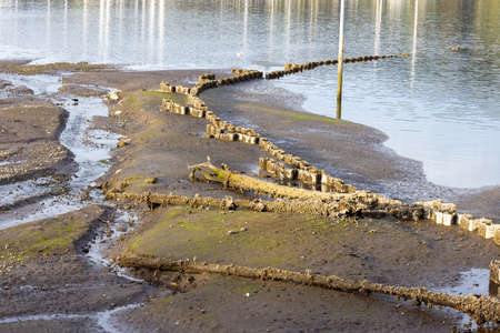 old sunken structures in a sea bed