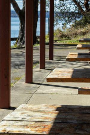 empty picknick tables lined up under a pavilion
