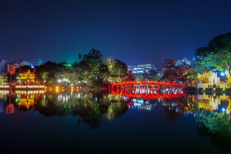 Hoan Kiem Lake at night in Hanoi Vietnam