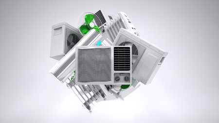 Aircon, heater, climate equipment. high quality photo realistic render Stock Photo