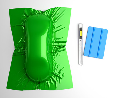 Car wrapping film and tools. High quality  photo realistic render