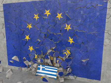 greece: Greece coming out from EU. High quality photo-realistic render Stock Photo
