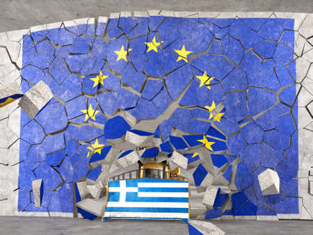 coming out: Greece coming out from EU. High quality photo-realistic render Stock Photo
