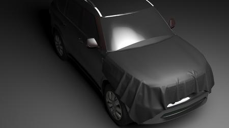 garage automobile: SUV avec capuche envelopp�. Photo haute qualit� de rendu r�aliste Banque d'images