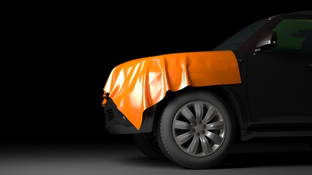 SUV with wrapped hood. High quality  photo realistic render Standard-Bild
