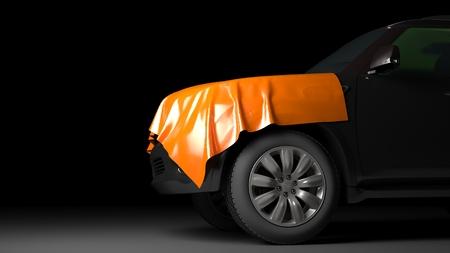 SUV mit eingewickelt Kapuze. Hochwertige fotorealistische Render Standard-Bild - 44243157