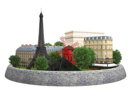 flore: Paris landmarks in 3d. Eiffel tower, Building Rivoli street and Cafe de Flore, Arch de Tiomphe, Pyramid Louvre, Moulin Rouge