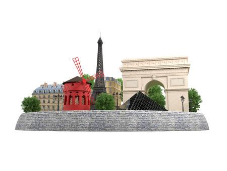 moulin: Paris landmarks in 3d. Eiffel tower, Building Rivoli street and Cafe de Flore, Arch de Tiomphe, Pyramid Louvre, Moulin Rouge