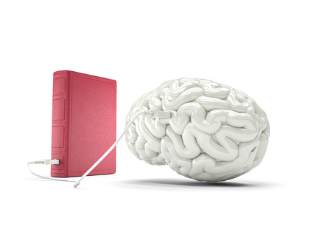 Book charging brain concept. High quality render