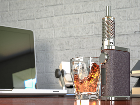 Ecig battery mod plus whiskey glass. High quality render Stock Photo
