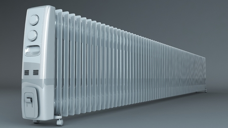 oil heater: Extra long oil heater radiator. Photo realistic render