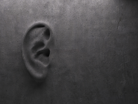 deafness: Ear on wall concept. High quality photo realistic render