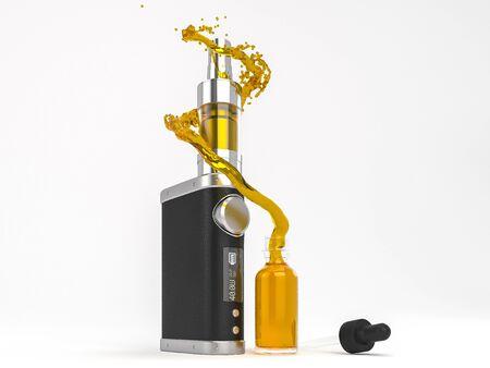 Ecig 배터리 모드 분무기 및 ejuice 스플래시. 고품질 렌더링