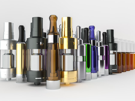 Atomizers, clearomizers and ejuice. Stock fotó