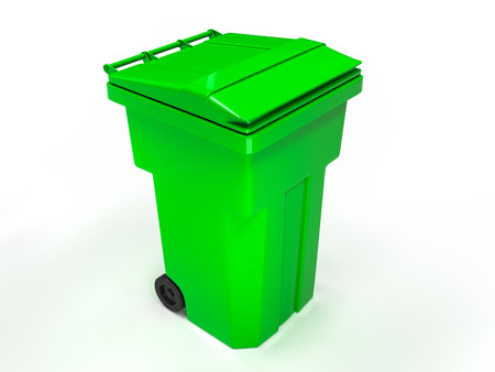 wastepaper basket: Plastic trash can. 3d photo realistic render Stock Photo