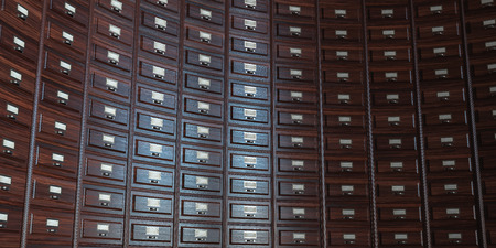 mass storage: Vintage wooden filing cabinet  background. 3d render Stock Photo