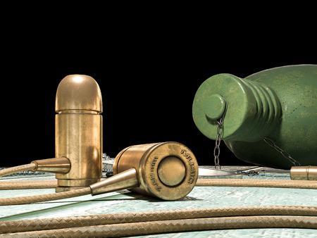 token: Bullet headset, flask and token concept. 3d render
