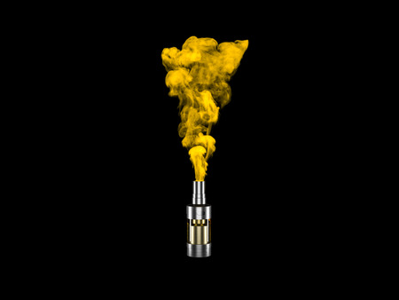 Vaping atomizer with colored yellow vape. 3d render 스톡 콘텐츠